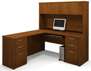 Bestar Embassy L Shaped Office Desk With Hutch Tuscany Brown Finish