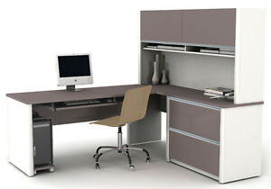 Bestar Connexion L Shape Office Desk W Oversized Pedestal In Sandstone
