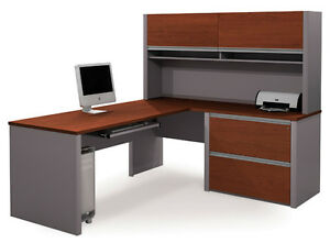 Bestar Connexion L Shape Office Desk W Assembled Oversized Pedestal In Bordeaux