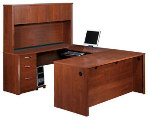 Bestar Embassy Tuscany Brown U Shaped Executive Office Desk 60857 1663