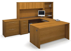 Bestar Embassy Cappuccino Cherry U Shaped Executive Desk With Lateral File