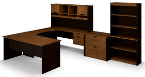 Bestar Innova Office Desk With Lateral File And Bookcase In Tuscany Brown Black