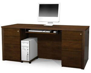 Bestar Prestige Chocolate Executive Desk With Assembled Pedestals 99875 1469