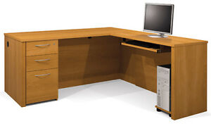 Bestar Embassy Executive L Shape Office Desk In Cappuccino Cherry 60873 1468