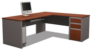 Bestar Prestige L Desk With 4 Door Hutch In Cognac Cherry 99872 1576