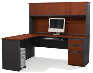 Bestar Prestige L Desk With 4 Door Hutch In Bordeaux Graphite 99872 1539