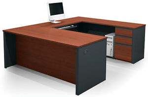 Bestar Prestige U Executive Workstation With Bordeaux Graphite Finish
