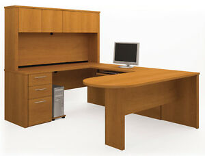 Bestar Embassy Cappuccino Cherry U Shaped Office Desk 60856 1668