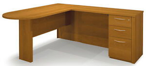 Bestar Embassy Traditional L Shaped Office Desk In Cappuccino Cherr