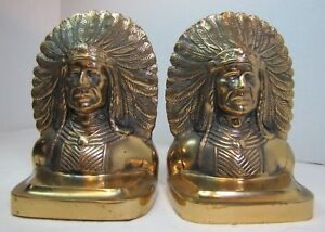 Antique Native American Indian Chief Ornate Brass Bookends Wd Allen Chicago Usa