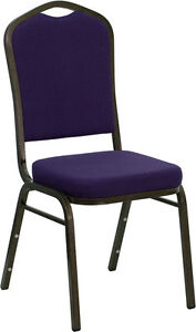 Lot 100 Purple Fabric Crown Back Steel Frame Banquet Stack Chairs