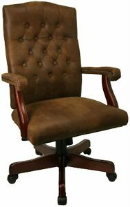 6 Brown Traditional Executive Computer Office Desk Chairs