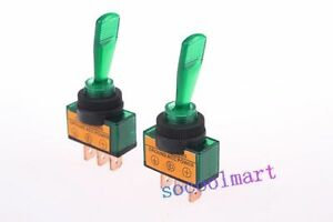 10 Pcs 12vdc 20a On off Green Lamp 12mm Mounting Thread Dia Toggle Switch
