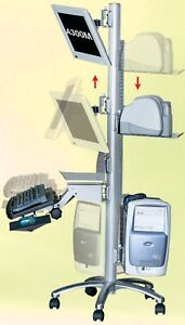 Stand up Mobile Computer Pole Workstation 24 Wide