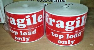 2 Rolls 4 x7 Fragile Top Load Only 1000 Large Shipping Labels Stickers
