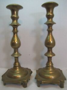 Antique 17th 18th C Brass Candlesticks Wonderfully Designed Ornate Heavy Old
