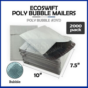 2000 0 7 5 X 10 Poly Bubble Mailers Padded Envelope Shipping Supply Bags Dvd