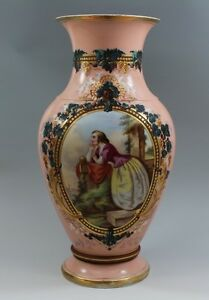 Huge Old Paris Porcelain Vase Beautifully Hand Painted Lady
