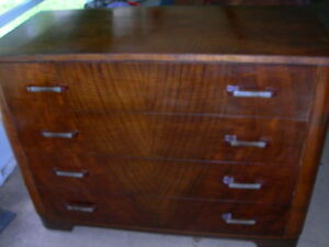 Antique Vintage Tiger Oak English Dresser Flame Design Original Hardware Handles
