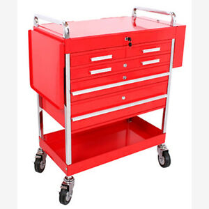Sunex 8045 Professional 5 Drawer Service Cart W locking Top red