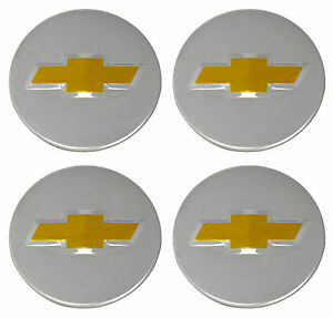 4 Genuine Oem Factory Center Caps Chevy Bow Tie Emblem Logo Chrome Finish 2 1 4