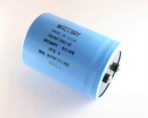New Mallory Cg 2500uf 200v Large Can Aluminum Electrolytic Capacitor Dc Mfd