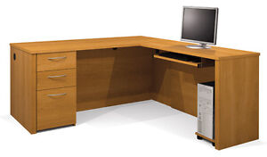 Office Furniture Laminate L Shape Office Desk With Cappuccino Cherry Finish