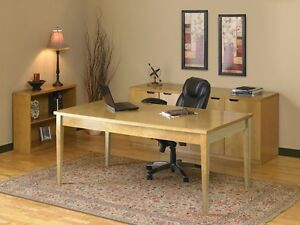 Maple Finish Wood Veneer Executive Office Desk W Bookcase And Storage Credenza