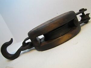 Antique Pulley Block And Tackle Wood And Cast Iron Heavy Duty Anvil Marking