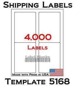 4000 Laser Ink Jet Labels 3 5 X 5 Shipping Compatible With Size 5168 1 000