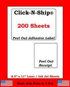 200 Laser ink Jet Labels Click n ship With Peel Off Receipt perfect For Usps