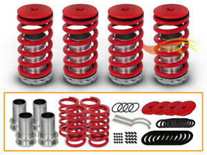 Bcp 90 93 Acura Integra Adjustable Lowering Coilover Coil Spring Suspension Red