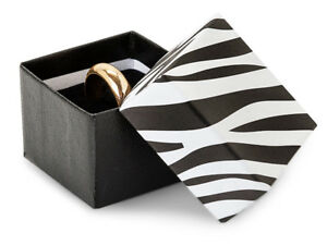 Lot 50 Wild Safari Zebra Black White Stripes Ring Jewelry Gift Boxes Holiday