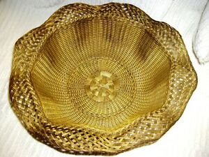 Large Gilt Silver Plate Intricately Woven Metal Wire Fruit Bowl Wavey Edge