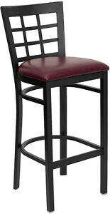 Black Window Back Metal Restaurant Bar Stool With Burgundy Vinyl Seat