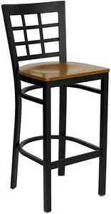 Black Window Back Metal Restaurant Bar Stool With Cherry Wood Seat