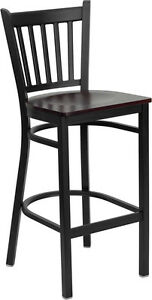Black Vertical Back Metal Restaurant Bar Stool With Mahogany Wood Seat
