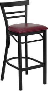 Deluxe Black Ladder Back Metal Restaurant Bar Stool With Burgundy Vinyl Seat