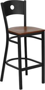 Black Circle Back Metal Restaurant Bar Stool With Cherry Wood Seat