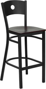 Black Circle Back Metal Restaurant Bar Stool With Mahogany Wood Seat