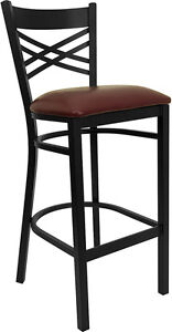 Black X Back Metal Restaurant Bar Stool With Burgundy Vinyl Seat