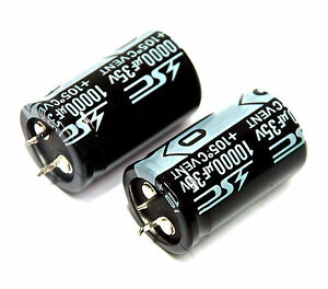20pc Electrolytic Capacitor Snap In Can Hp 10000uf 35v 105 2000hrs 25x41mm Sc