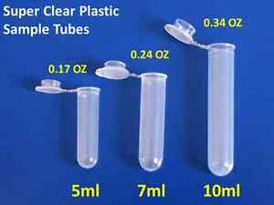 7ml Centrifuge Tubes Plastic Clear Vials Sample Containers Fragrance Beads 100x