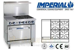 Imperial Commercial Restaurant Range 36 12 Convection Oven Propane Ir 4 g12 c