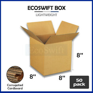 50 8x8x8 Cardboard Packing Mailing Moving Shipping Boxes Corrugated Box Cartons