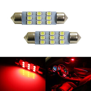 Brilliant Red 9 smd 1 72 42mm 578 211 2 Led Bulbs For Interior Map Dome Lights