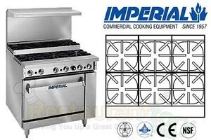 Imperial Commercial Restaurant Range 36 Step Up 1 Oven Natural Gas Ir 6 su c