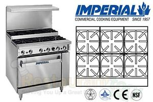 Imperial Commercial Restaurant Range 36 Step Up W 1 Oven Natural Gas Ir 6 su