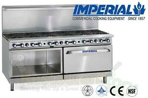 Imperial Commercial Restaurant Range 72 W Oven cabinet Nat Gas Ir 12 su xb