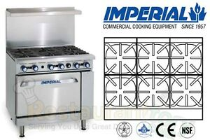 Imperial Comm Restaurant Range 36 W 6 Burners Nat Gas Model Ir 6 c